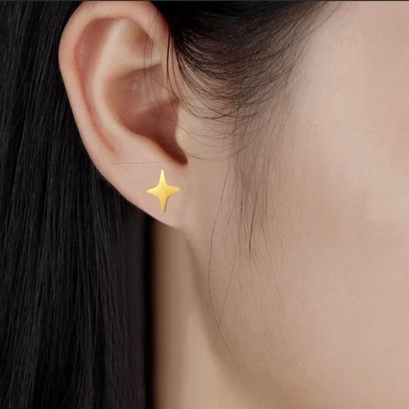Stunning Stainless Steel Bright Star Stud Earrings